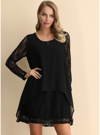Cotton/Lace/Chiffon/Linen With Lace/Solid Above Knee Dress