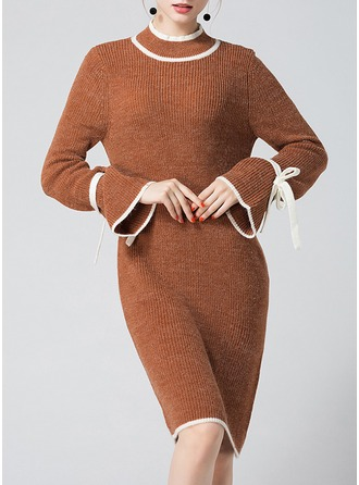 Knitting With Bowknot/Stitching Knee Length Dress