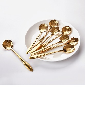 Classic Novelty Stainless Steel Dessert Spoons (Set of 8)