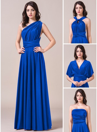 A-Line/Princess Floor-Length Jersey Bridesmaid Dress With Ruffle