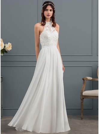 Scoop Neck Floor-Length Chiffon Wedding Dress With Beading Flower(s) Sequins