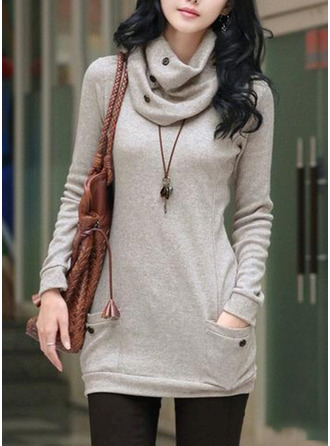 Plain Cotton Turtleneck Sweater Sweaters