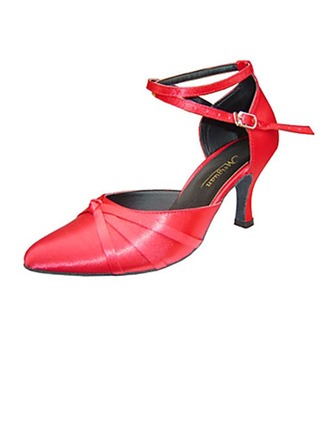 Women's Patent Leather Heels Sandals Pumps Latin Ballroom Salsa Party Tango With Ankle Strap Hollow-out Dance Shoes