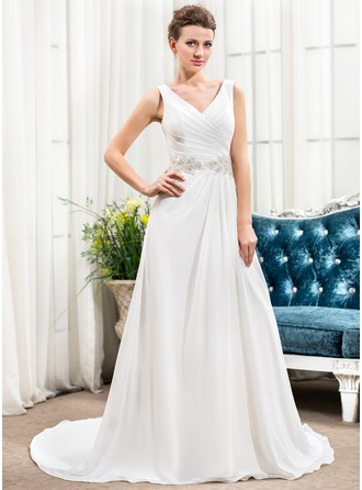 A-Line/Princess V-neck Court Train Chiffon Wedding Dress With Ruffle Beading Sequins