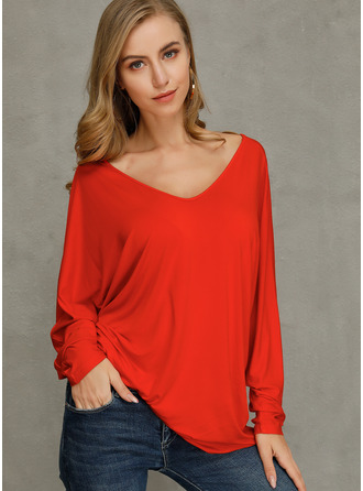 Long Sleeves Polyester V Neck Plést Halenky