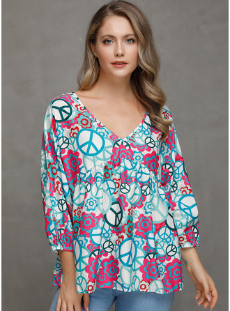 Long Sleeves Spandex V Neck Blouses