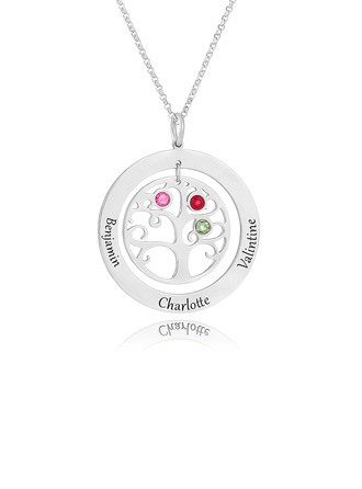 Custom Sterling Silver Engraving/Engraved Circle Three Birthstone Necklace With Family Tree