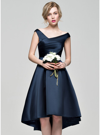 Off-the-Shoulder Asymmetrical Satin Bridesmaid Dress With Ruffle