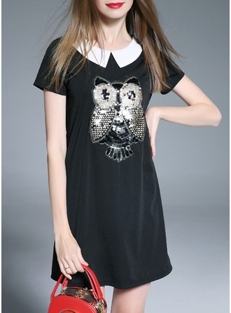 Cotton/Spandex With Sequins Above Knee Dress