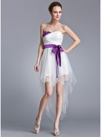 A-Line/Princess Sweetheart Asymmetrical Tulle Holiday Dress With Ruffle Sash Beading Appliques Lace Sequins Bow(s)