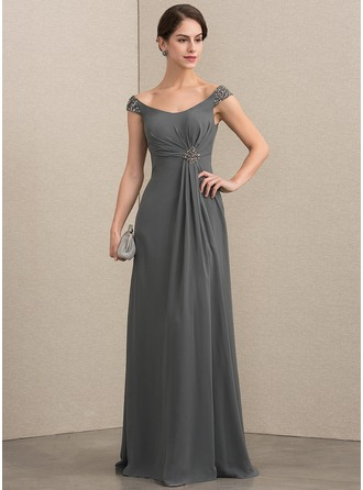 Off-the-Shoulder Floor-Length Chiffon Mother of the Bride Dress With Beading Sequins