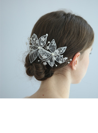 Ladies Beautiful Alloy/Lace Combs & Barrettes With Rhinestone/Venetian Pearl