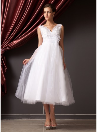 V-neck Tea-Length Organza Tulle Wedding Dress