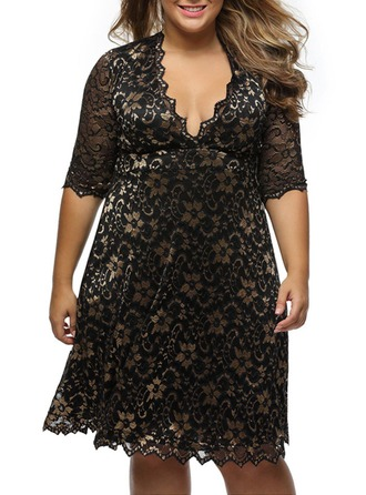 Lace With Print Knee Length Dress