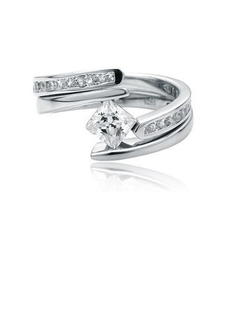 Bypass Asscher Cut 925 Silver Bridal Sets