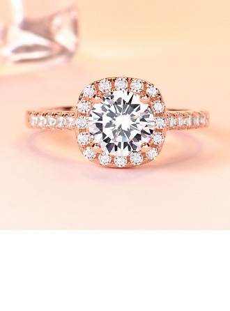Sterling Silver Cubic Zirconia Halo Round Cut Promise Rings