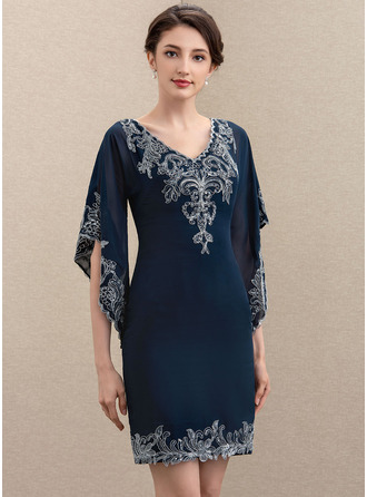 Sheath/Column V-neck Knee-Length Chiffon Lace Mother of the Bride Dress With Sequins