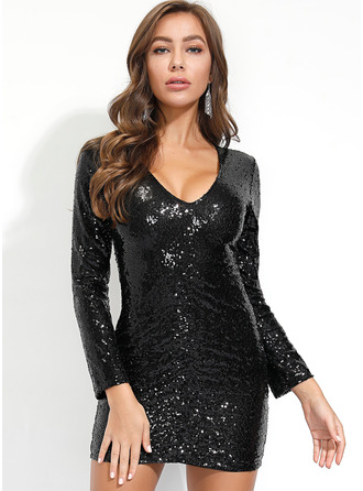 Polyester With Sequins/Solid Knee Length Dress