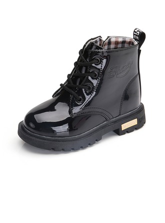 Unisex Patent Leather Flat Heel Round Toe Boots With Lace-up