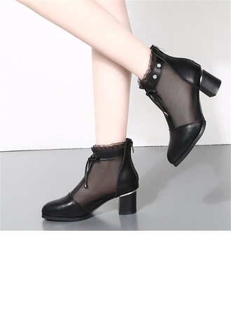 Women's Leatherette Mesh Heels Boots Latin Modern Character Shoes Dance Boots With Rhinestone Hollow-out Dance Shoes