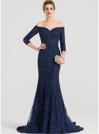 Trumpet/Mermaid Off-the-Shoulder Sweep Train Lace Evening Dress With Beading