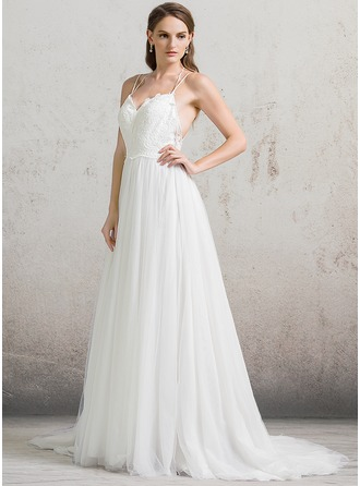 A-Line/Princess Sweetheart Court Train Tulle Wedding Dress