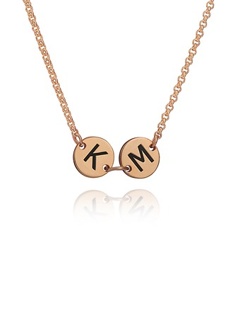 Custom 18k Rose Gold Plated Silver Engraving/Engraved Two Initial Necklace Discs & Circles