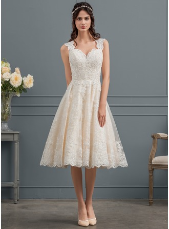 Sweetheart Knee-Length Tulle Lace Wedding Dress With Beading Sequins