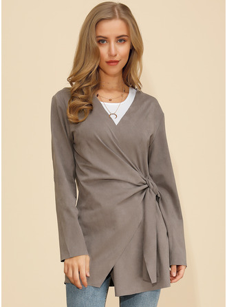 Plain Solid Polyester V-neck Cardigans Fall Sweaters