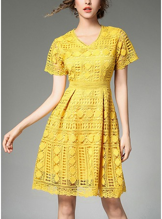Lace With Lace/Stitching/Hollow/Crumple Above Knee Dress