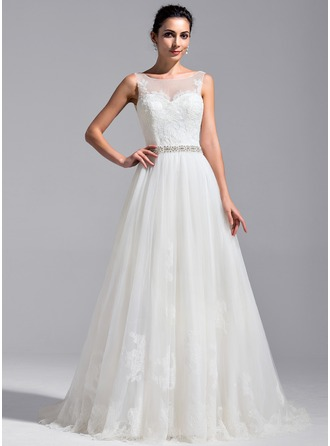A-Line/Princess Scoop Neck Cathedral Train Tulle Lace Wedding Dress With Beading Sequins