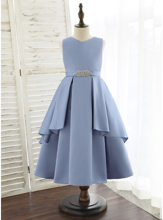 Tea-length Flower Girl Dress - Satin Sleeveless V-neck With Beading