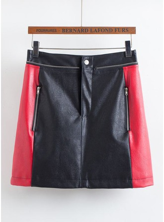 A-Line Skirts Mini Color Block Leather/PU Etekler