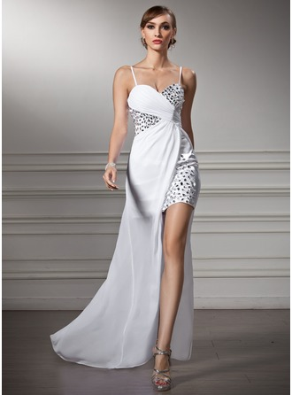 Sheath/Column Sweetheart Asymmetrical Chiffon Prom Dresses With Ruffle Beading