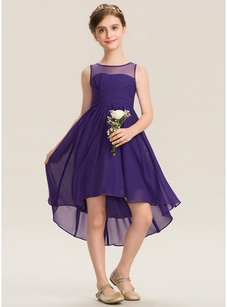 Scoop Neck Asymmetrical Chiffon Junior Bridesmaid Dress With Ruffle