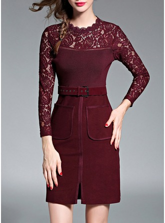 Lace With Lace/Stitching/Hollow Above Knee Dress