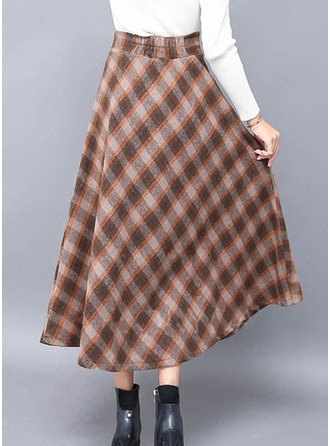 Woollen Plaid Maxi A-Line Skirts