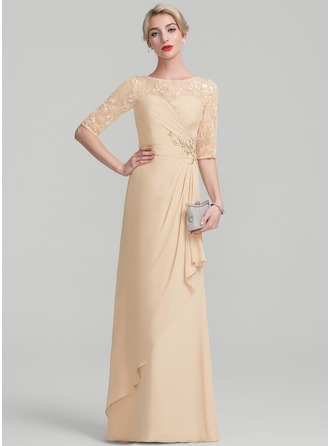 A-Line/Princess Scoop Neck Floor-Length Chiffon Lace Sequined Evening Dress With Beading Sequins Cascading Ruffles