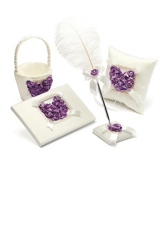 Lilac Rose Heart Designed Satin Collection Set