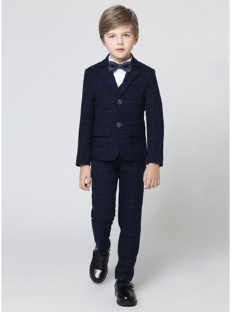 Boys 4 Pieces Plaid Ring Bearer Suits /Page Boy Suits With Jacket Shirt Pants Bow Tie