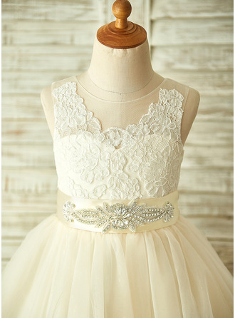 A-Line Knee-length Flower Girl Dress - Tulle/Lace Sleeveless Scoop Neck With Appliques/Bow(s)/Rhinestone