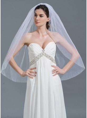 One-tier Beaded Edge Fingertip Bridal Veils With Beading