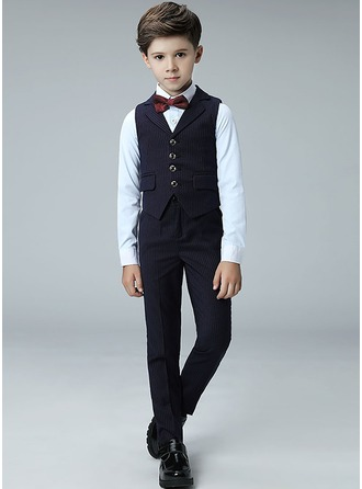 Boys 4 Pieces Stripe Ring Bearer Suits /Page Boy Suits With Shirt Vest Pants Bow Tie