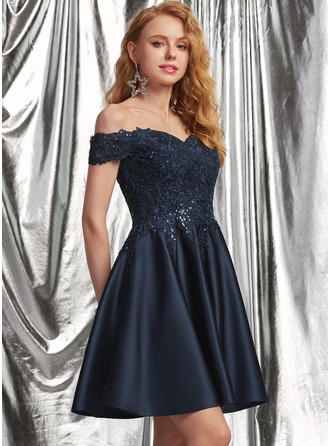 A-Line Off-the-Shoulder Short/Mini Satin Homecoming Dress With Lace Sequins
