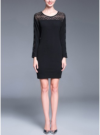 Polyester/Lace With Lace/Stitching Above Knee Dress