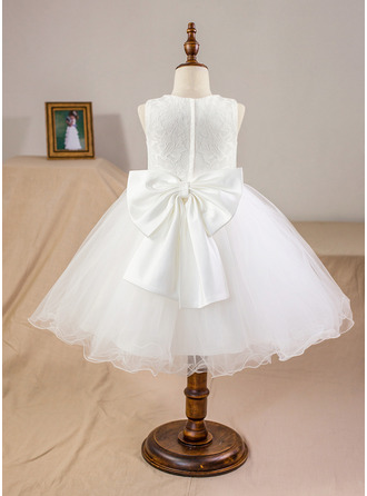 Po kolena Flower Girl Dress - Satén Tyl Krajka Bez rukávů Scoop Neck