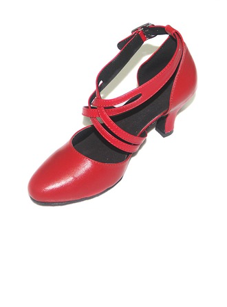 Women's Real Leather Pumps Latin With Ankle Strap Dance Shoes