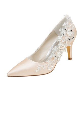 Women's Silk Like Satin Stiletto Heel Pumps With Stitching Lace Pearl