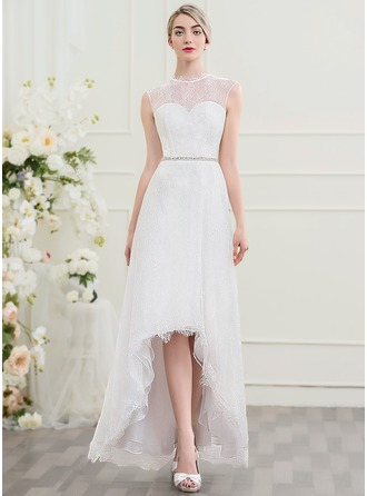 A-Line/Princess Scoop Neck Asymmetrical Lace Wedding Dress With Beading Sequins