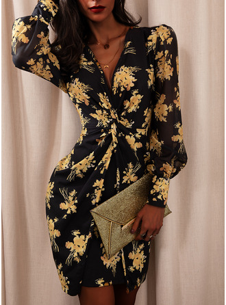 Floral Print Bodycon V-Neck Long Sleeves Puff Sleeves Midi Elegant Party Dresses